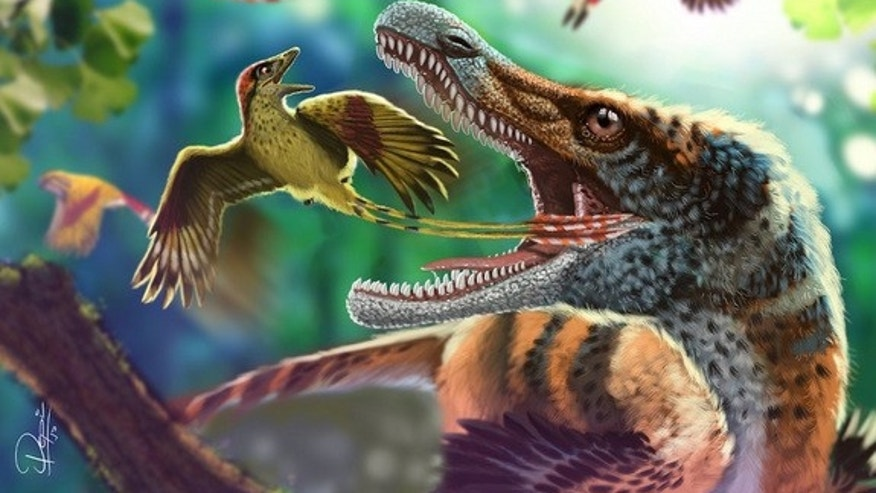 An artist's interpretation of an Enantiornithes escaping the jaws of a toothy predator.
