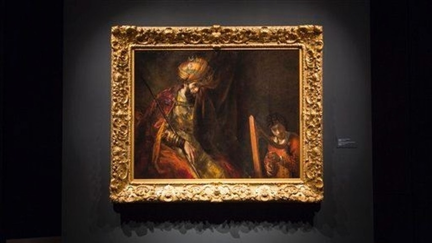 "This photo provided Tuesday, June 9, 2015, by the Mauritshuis musem shows Rembrandt's ""Saul and David"" after restoration."