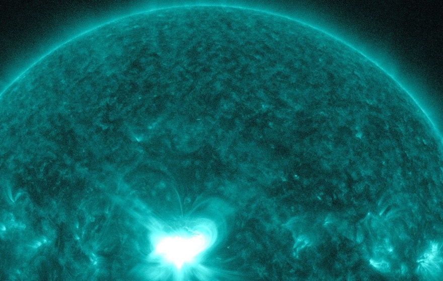 An X1.6 class solar flare flashes in the middle of the sun in this image taken September 10, 2014, in this image courtesy of NASA.