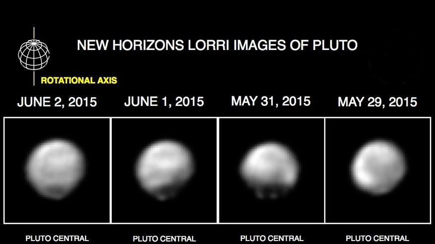 This image made available by NASA/Johns Hopkins University Applied Physics Laboratory/Southwest Research Institute on June 11, 2015 shows four computer-enhanced views of Pluto, taken by New Horizons' Long Range Reconnaissance Imager (LORRI). On July 14, 2015 New Horizons is expected make its closest approach to Pluto. The spacecraft will fly within 7,750 miles - the approximate distance between Seattle and Sydney. It will be the first spacecraft to explore the tiny, icy world once considered a full-fledged planet. (NASA/Johns Hopkins University Applied Physics Laboratory/Southwest Research Institute via AP)