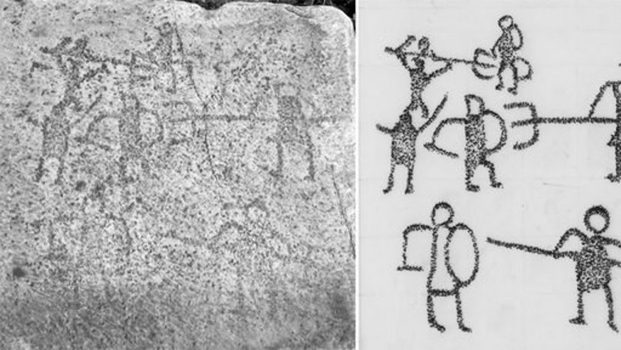 Graffiti discovered in the ancient city of Aphrodisias shows gladiator fights between a retiarius (a gladiator armed with a trident and net) and a secutor (gladiator equipped with a sword and shield).