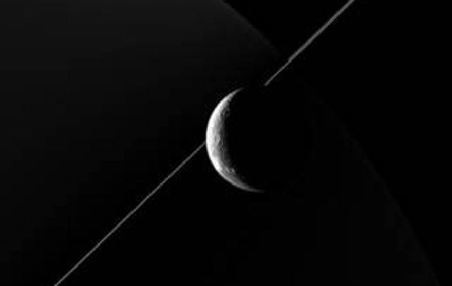 NASA's Cassini imaging scientists processed this view of Saturn's moon Dione, taken during a close flyby on June 16, 2015.