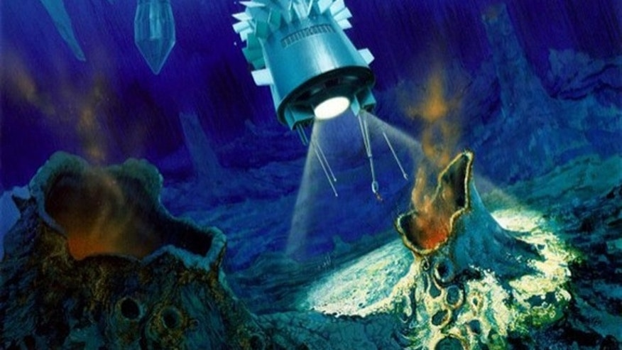 An artist's impression of a torpedo-shaped cryobot having penetrated through Europa's ice layer and released a probe into the ocean below.