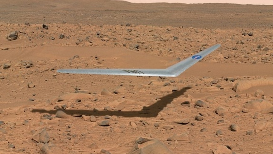 Artist's concept of a tiny glider cruising through the the skies of Mars.