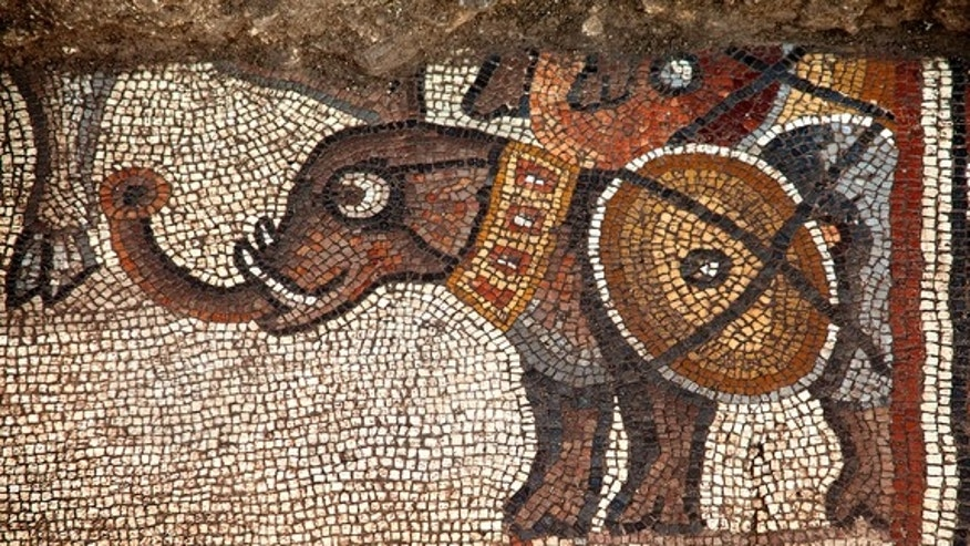 A section of the mosaic showing an elephant discovered in 2013. This section is part of the larger mosaic exposed in summer 2015.