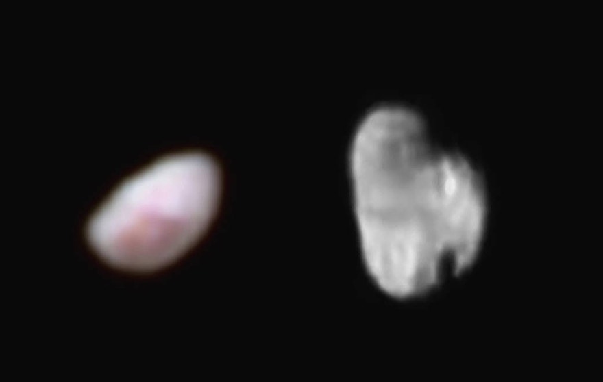 Pluto's moon Nix (left), shown here in enhanced color as imaged by the New Horizons Ralph instrument, has a reddish spot that has attracted the interest of mission scientists.  The data were obtained on the morning of July 14, 2015, and received on the ground on July 18.