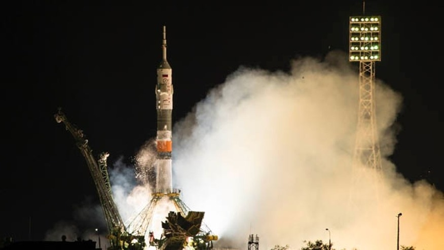 July 23, 2015: The Soyuz-FG booster rocket with the space capsule Soyuz TMA-14M is launched to the International Space Station from the Russian-leased Baikonur cosmodrome, Kazakhstan, in Kazakhstan. (AP Photo/Pavel Golovkin)