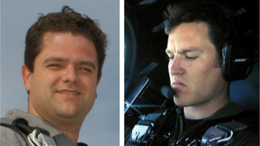 Scaled Composites test pilots Peter Seibold (left) and Michael Alsbury were flying Virgin Galactic's first SpaceShipTwo when it broke apart and crashed over California's Mojave Desert on Oct. 31, 2014. Alsbury was killed in the crash, which ser