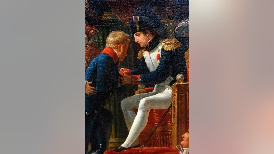 On a detail of a Jean-Baptiste Debret's 19th century painting, Napoleon Bonaparte is on the right.