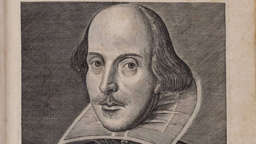 This engraving of a man identified as William Shakespeare appears on the front of a First Folio of Shakespeare's plays dating from the early 17th century (Beinecke Rare Book & Manuscript Library, Yale University)