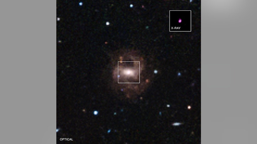 This image shows the optical view of RGG 118, captured by the Clay Telescope, and the X-ray view of the black hole, taken by NASA's Chandra spacecraft.