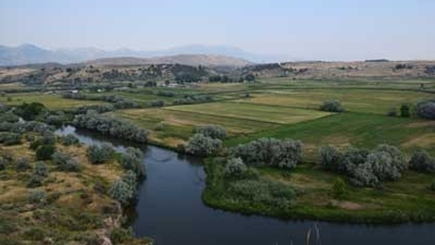 A view from a bluff overlooking the site of the Bear River Massacre, near Preston, Idaho.