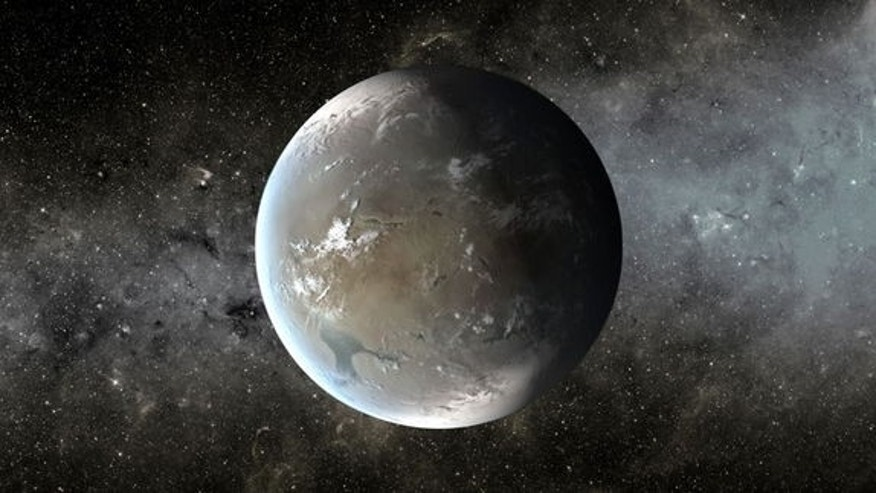 "This artist's concept shows Kepler-62f, an exoplanet in the habitable zone of its host star, which is located about 1,200 light-years from Earth in the constellation Lyra. Researchers think Kepler-62f may be a ""water world."""