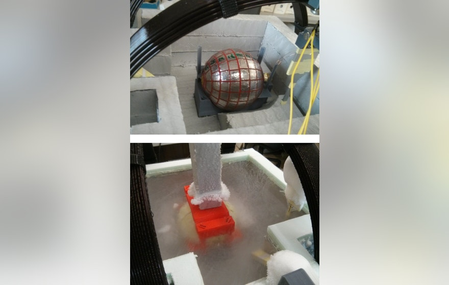 Experiments to confirm the magnetic properties of the wormhole, before (top) and after (bottom) filling some liquid nitrogen needed to cool the superconducting parts.