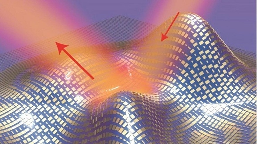 """An illustration of the ultrathin """"invisibility"""" cloak. Light reflects off the cloak (shown by the red arrows) as if it were reflecting off a flat mirror."""