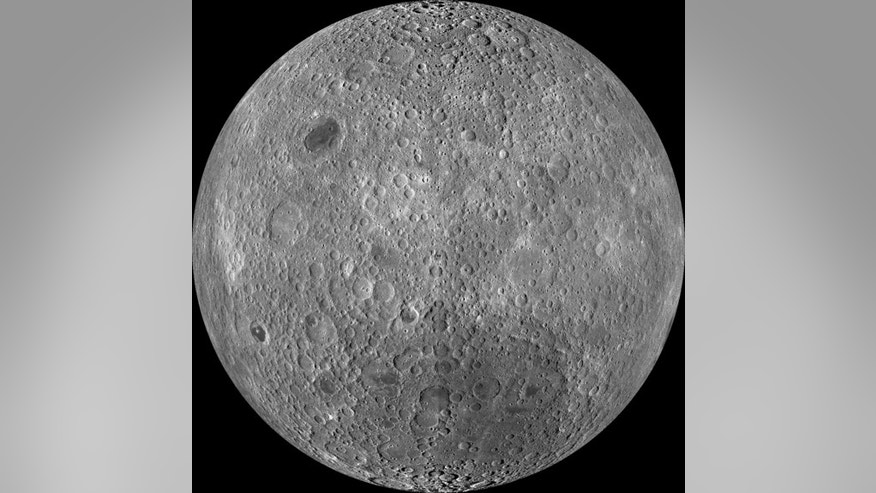 "The far side of the moon, often mistakenly called the ""dark side"" though it receives just as much sunlight as the near side, as imaged by NASA's Lunar Reconnaissance Orbiter."