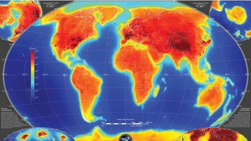 The first-ever global map of antineutrinos produced by natural and human-made sources, with the latter making up less than 1 percent of the total.