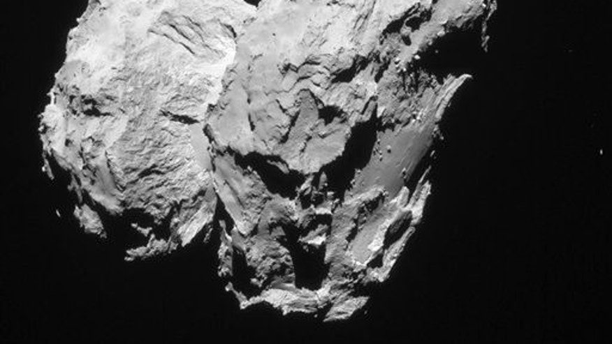 The 2014 photo taken by the Rosetta space probe shows Comet 67P/Churyumov���Gerasimenko.