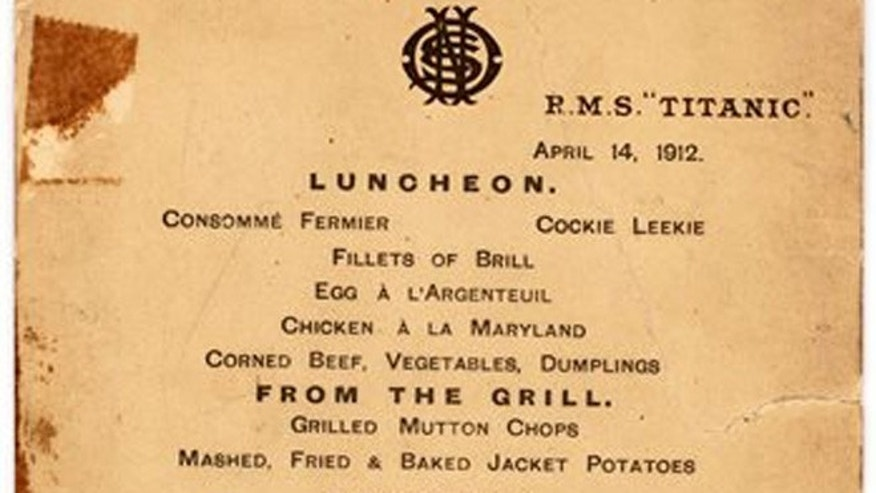This undated file photo provided by Lion Heart Autographs shows the Titanics last lunch menu.
