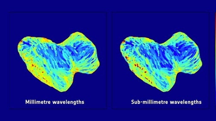 Temperature maps of Comet 67P taken by the Microwave Instrument for the Rosetta Orbiter (MIRO) at two different wavelengths between September and October 2014, millimeter on the left and submillimeter on the right, suggest a transparent layer o