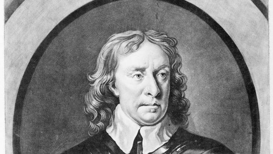 A portrait of Oliver Cromwell in armor.