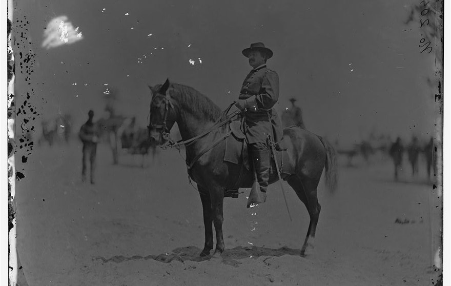 The horse and body from this image of Maj. Gen. Alexander M. McCook taken near Washington, D.C. was used in the Grant photo montage.