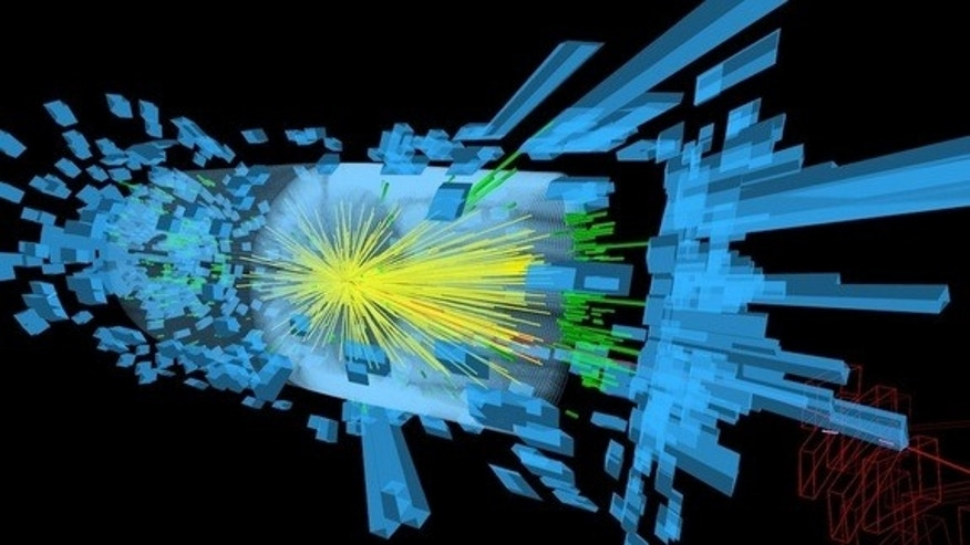 Particles created from the proton collision stream out from the center of the Compact Muon Solenoid detector.