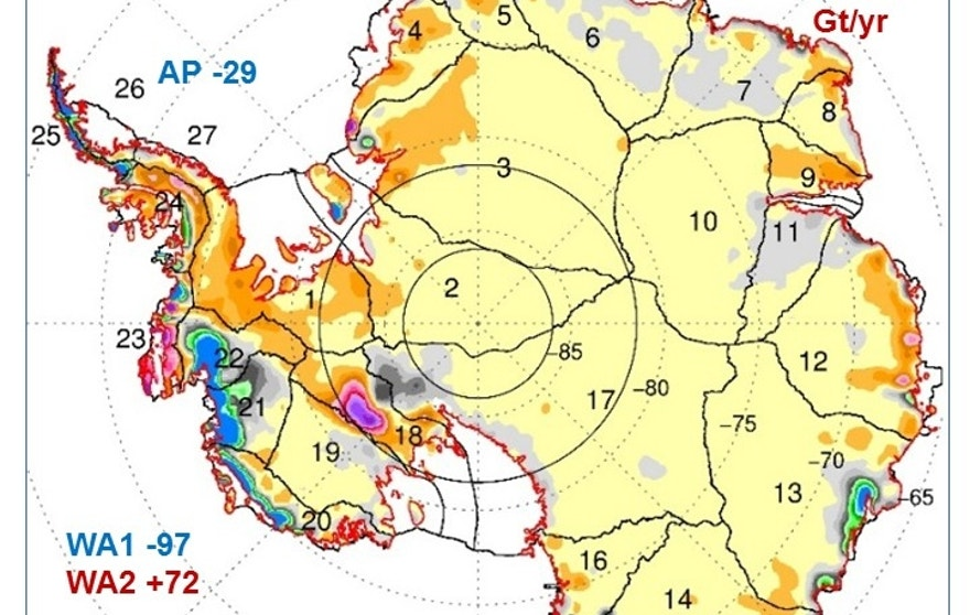 Map showing the rates of mass changes from ICESat 2003-2008 over Antarctica. Sums are for all of Antarctica: East Antarctica (EA, 2-17); interior West Antarctica (WA2, 1, 18, 19, and 23); coastal West Antarctica (WA1, 20-21); and the Antarctic Peninsula (24-27). A gigaton (Gt) corresponds to a billion metric tons, or 1.1 billion U.S. tons.