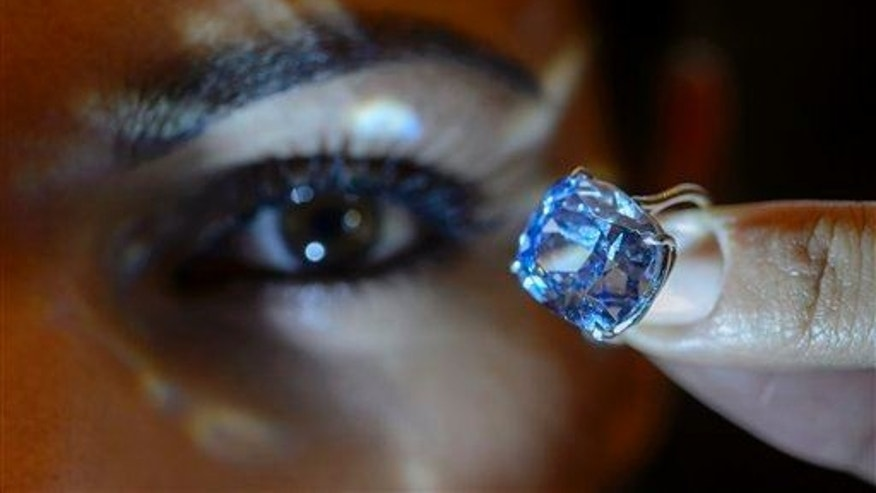 This happens to be the rare Blue Moon Diamond, in a file photo from Sotheby's.