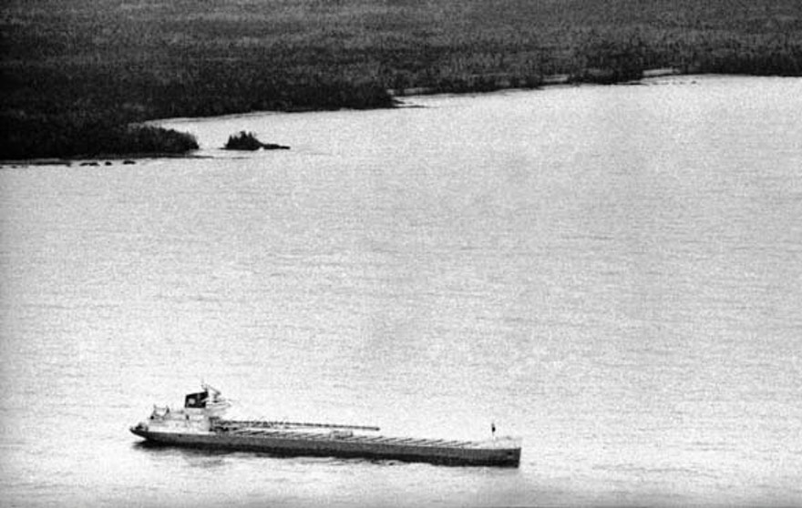 Nov. 11, 1975 file: One of several merchant ships, that aided in the search for the missing freighter Edmund Fitzgerald cruises the area believe to be the last known location of the freighter.