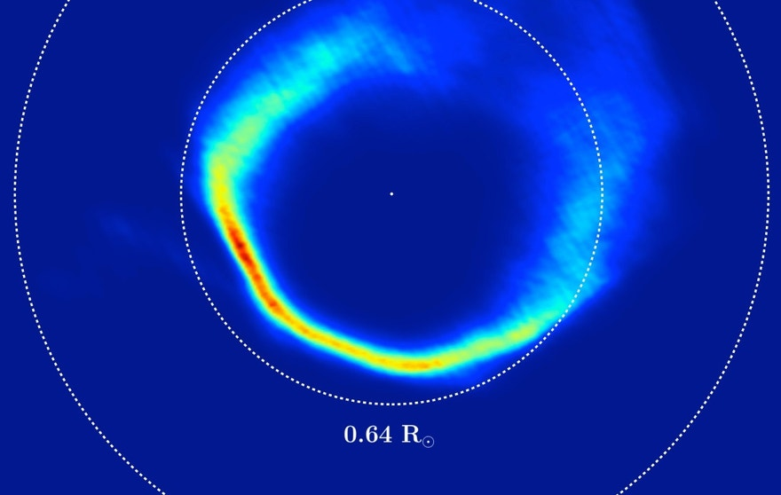 "This plot is an unusual type of image, showing the velocities of the gas in the disc around the white dwarf SDSS J1228+1040, rather than its position. It was mapped out from Very Large Telescope observations over a period of 12 years and by applying a method called Doppler tomography. The dashed circles correspond to material in circular orbits at two different distances from the star. This appears ""inside out"" because material moves faster in close-in orbits."