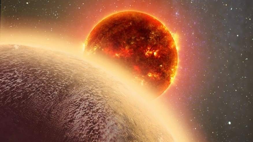 In this artist's rendering of GJ 1132b, a rocky exoplanet very similar to Earth in size and mass, circles a red dwarf star. GJ 1132b is relatively cool (about 450 degrees F) and could potentially host an atmosphere. At a distance of only 39 light-years, it will be a prime target for additional study with Hubble and future observatories like the Giant Magellan Telescope. (Dana Berry)