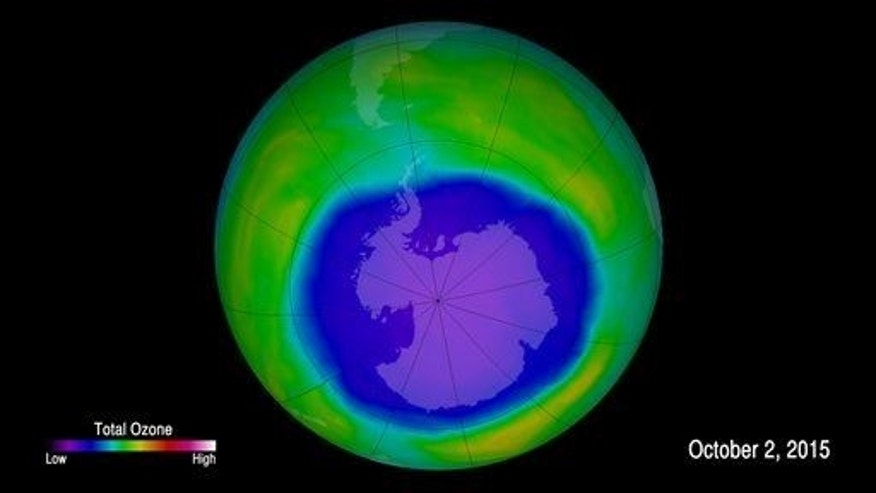 This image provided by NOAA shows the ozone hole.