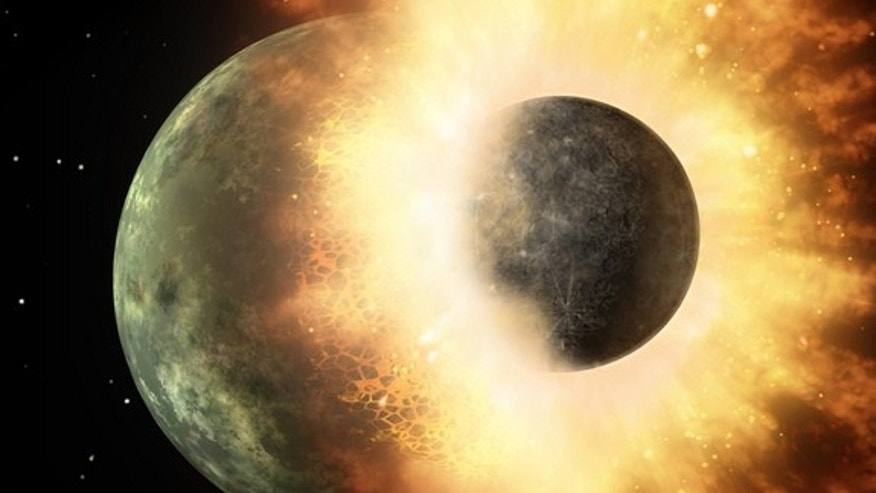An artist's image of a collision between two planetary bodies. A similar crash likely formed the Earth and moon. New research suggests that the Earth took water and other volatiles from the moon after the collision.