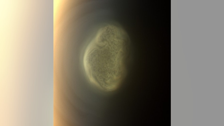 This 2012 close-up offers an early snapshot of the changes taking place at Titan's south pole. Cassini's camera spotted this impressive cloud hovering at an altitude of about 186 miles (300 kilometers). Cassini's thermal infrared instrument has