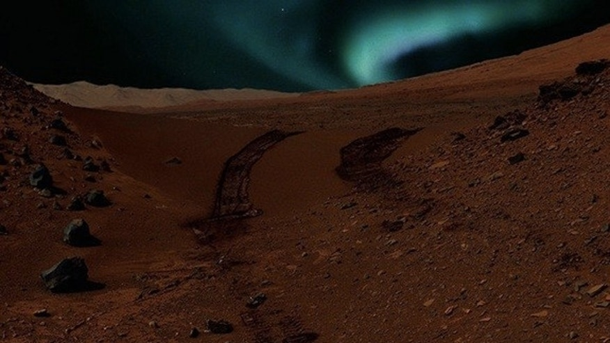 This artist's conception shows auroras visible on Mars caused by magnetic anomalies. Even brighter Martian auroras may light the sky in regions with no magnetic field at all.