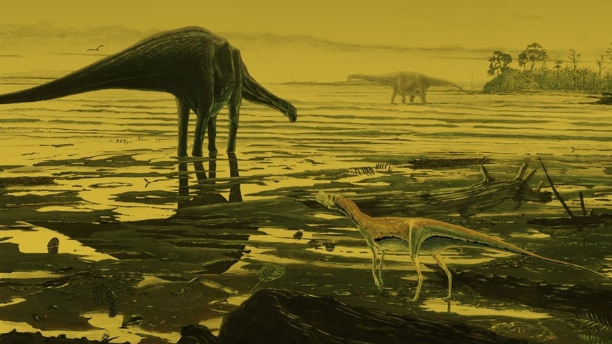Artist's impression of sauropod dinosaurs on Skye.