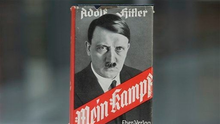 "Adolf Hitler's infamous memoir ""Mein Kampf"" is presented during a news conference in Nuremberg, southern Germany, on April 24, 2012."