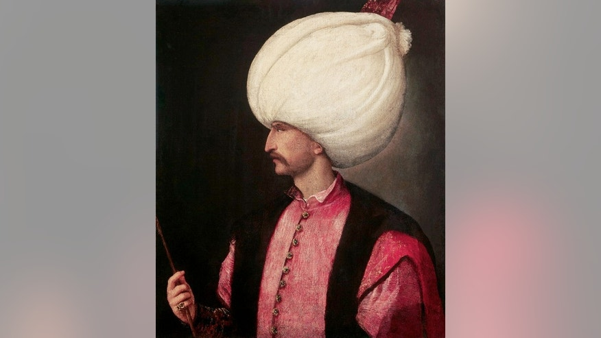 A portrait of Suleiman the Magnificent attributed to Italian painter Titian, 1530.