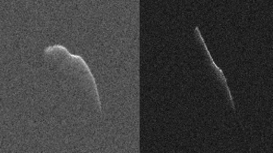 These images of an asteroid 3,600 feet (1,100 meters) long were taken on Dec. 17 (left) and Dec. 22 by scientists using NASA's giant Deep Space Network antenna at Goldstone, California. This asteroid will safely fly past Earth on Dec. 24, at a distance of 6.8 million mile. (NASA/JPL-Caltech/GSSR)