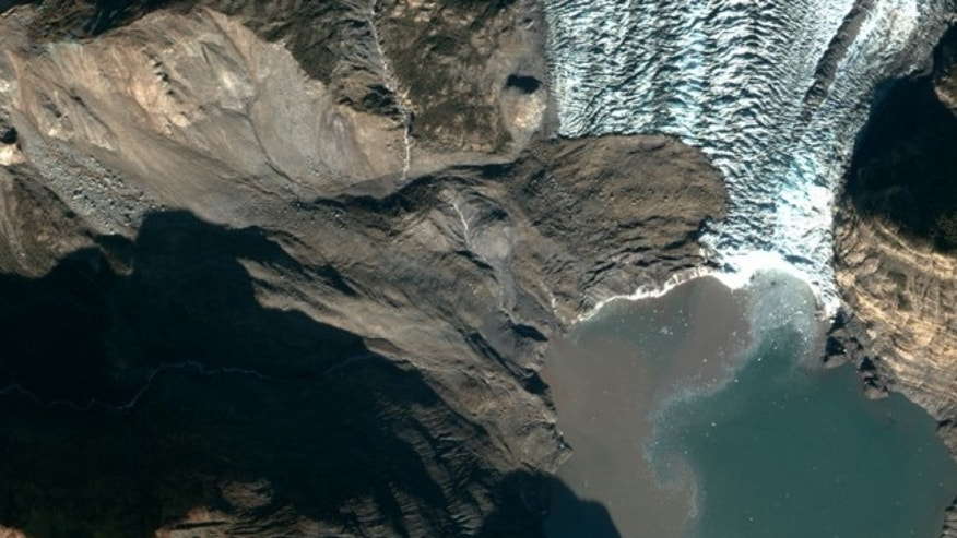 A 200 million ton landslide landed on the toe of Tyndall Glacier and in the water of Taan Fiord on Oct. 17 local time in Icy Bay, Alaska. It was detected by seismologists on the other side of the country. (NSF Polar Geospatial Center)