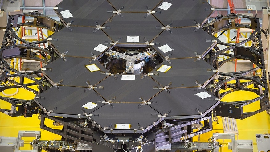 Another view of the one dozen (out of 18) flight mirror segments that make up the primary mirror on NASA's James Webb Space Telescope have been installed at NASA's Goddard Space Flight Center. (NASA/Chris Gunn)