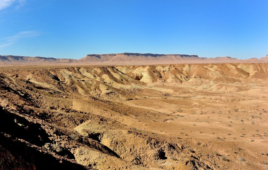 A panoramic view of the Touil el Mhahir locality in southern Tunisia where Machimosaurus rex was discovered in December 2014. With a rich and diverse fossil record, the  Tataouine governorate is becoming a pivotal area for vertebrate paleontology.