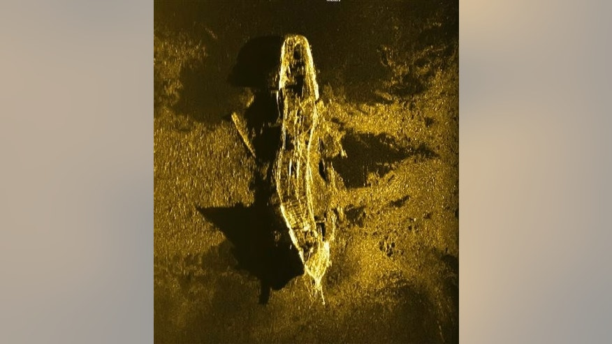 In this Jan. 2, 2016, sonar image released by Australian Transport Safety Bureau on Wednesday Jan. 13, 2016, a shipwreck is seen on the ocean floor off the coast of Australia.
