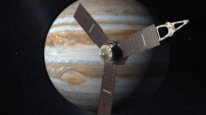 Artist's impression of NASA's Juno spacecraft at Jupiter.