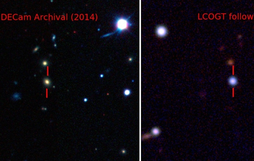 Pseudo-color images showing the host galaxy before the explosion of ASASSN-15lh taken by the Dark Energy Camera (DECam) [Left], and the supernova by the Las Cumbres Observatory Global Telescope Network (LCOGT) 1-meter telescope network [Right].
