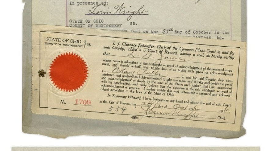 A 1916 patent document related to Orville Wright's invention of the airplane will be auctioned off Thursday. (Nate Sanders Auctions)