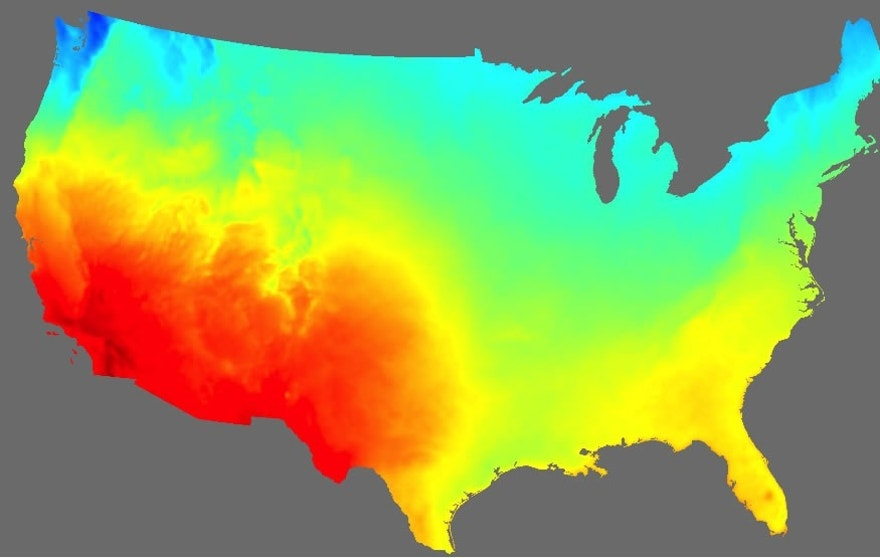 A high-resolution map based on NOAA solar irradiance data shows a snapshot of solar energy potential across the United States.
