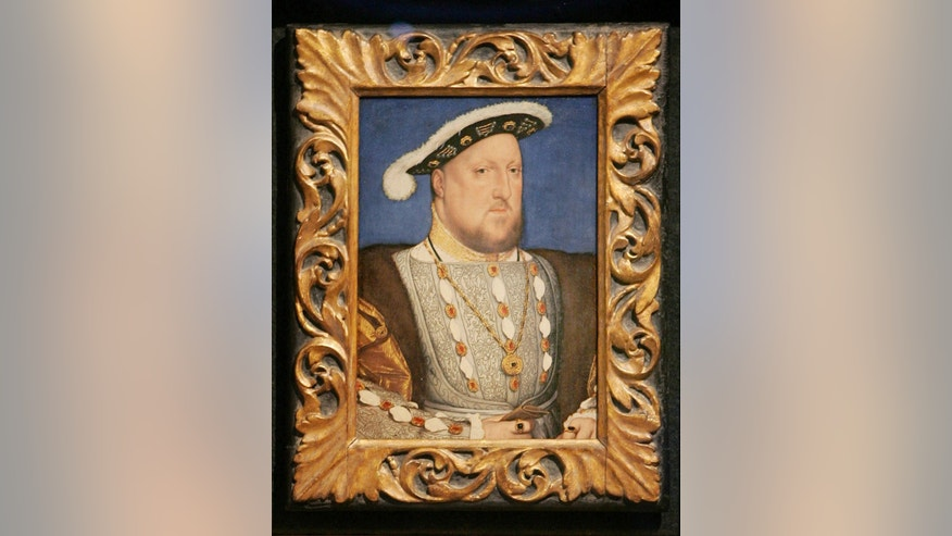 A portrait of sixteenth century British monarch Henry VIII by German artist Hans Holbein the Younger, at the Tate Britain in central London, September 26, 2006. Picture taken Sept. 26, 2006. (REUTERS/Toby Melville)