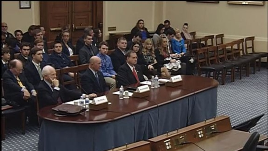 A panel of witnesses testified before the U.S. House of Representatives Subcommittee on Space about the path forward for NASA's human spaceflight program. The witnesses were (l to r) Tom Young, former dir